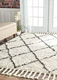 nuLOOM Venice Collection 100-Percent Wool Area Rug, 5-Feet by 8-Feet, Moroccan, Natural