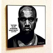 """Kanye West Singer Music Artist Actor Decor Motivational Quotes Wall Decals pop Art Gifts Portrait Framed Famous Paintings on Acrylic Canvas Poster Prints Artwork Geek Decor (10x10"""" (25.4cm x 25.4cm))"""