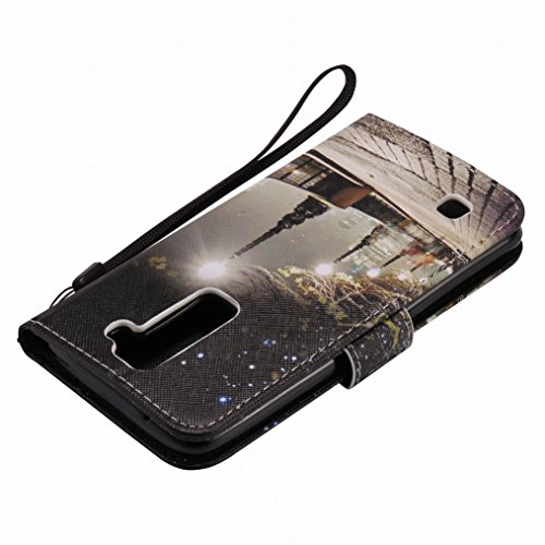 LEMORRY LG K7 (X210, MS330, LG Tribute 5 LS675) Custodia Pelle Cuoio Flip Portafoglio Borsa Sottile Fit Bumper Protettivo Magnetico Chiusura Standing Card Slot Morbido Silicone TPU Case Cover Custodia