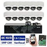 GW 16 Channel 4K NVR 5MP Video Security Camera System – Twelve 5MP 1920P Weatherproof 2.8-12mm Varifocal Dome Cameras, 80ft IR Night Vision, Realtime Recording 1080p @ 30fps, Pre-Installed 4TB HDD For Sale