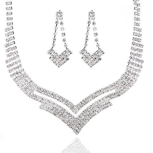 Euramerican Geometric Rhinestone Wedding Jewelry Sets Austrian Crystal Double V Necklace+Earrings Wedding Bridal Jewelry Sets Austrian Crystal Belly Ring