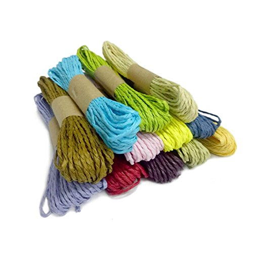 G2Bonus Craft Paper String for DIY Packaging Decorations, 10 Yards of Each Color, 12 Colors