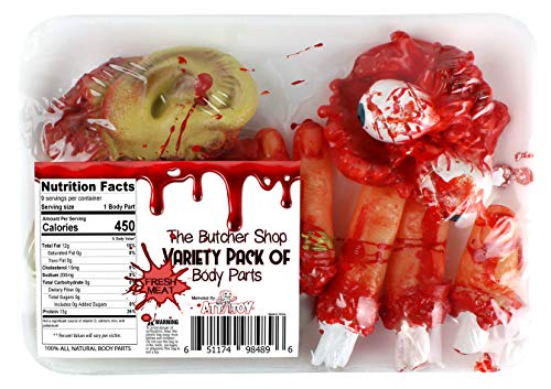 Attatoy Gore Severed Body Parts: Bloody Eyeballs, Ears, & Fingers Novelty Gag Props for Halloween, Haunted House, Theater, Parties & Tricks -
