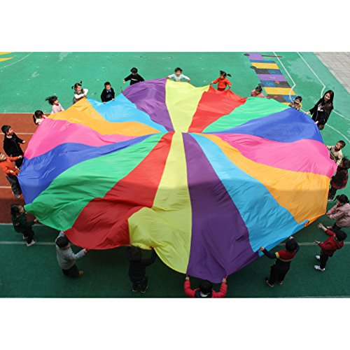 NUOBESTY Play Parachute Multicolored Children Team Work Educational Toy for Outdoor Games Sports Activities Cooperative Games by NUOBESTY (Image #1)