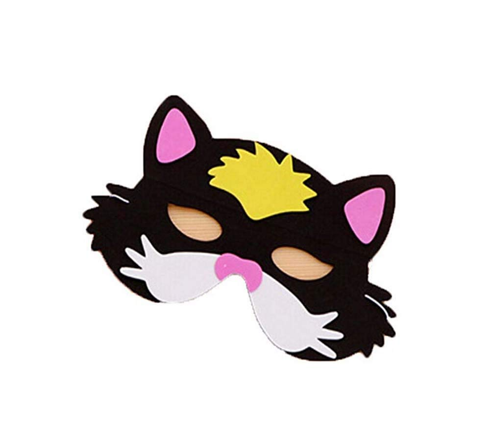 Cute Zoo Assorted Foam Masks Kids Animal Masks Birthday Party Favors Dress-Up Costume (Black Cat)