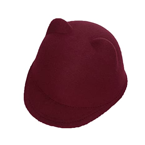 91725da9 Buy Gogolan Cute Cat Kitty Ear Wool Derby Bowler Fedora Hat Medium Wine Red  Online at Low Prices in India - Amazon.in