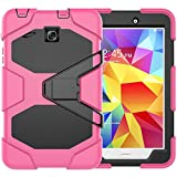 Samsung Galaxy Tab E 8.0 inch Case with Screen Protector, Jeccy 3in1 Full-body Shock Proof Hybrid Heavy Duty Armor Defender Protective Case, Silicone Plastic Case for Samsung Tab E 8 (SM-T377 / T375)