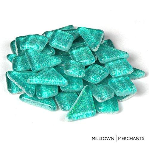 Milltown MerchantsTM Aqua Blue Glitter Mosaic Tile Pieces - Bulk Sparkle Mosaic Tiles - 3 Pound (48 oz) Shimmer Tile Assortment For Backsplash, Murals, Stepping Stones, and Mosaics