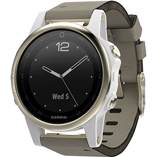 Garmin Fenix 5S Sapphire Champagne With Gray Suede Band, One Size