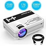 Mini Projector, Picowe Upgraded Version 2500 lumens Full HD LED Video Projector 1080P 176 Display Multimedia Home Theater Projector Support HDMI, VGA, USB, AV, SD For Movie, XBOX, PS4, Laptop iPhone