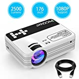 Mini Projector, Picowe Upgraded Version 2500 lumens Full HD LED Video Projector 1080P 176'' Display Multimedia Home Theater Projector Support HDMI, VGA, USB, AV, SD For Movie, XBOX, PS4, Laptop iPhone