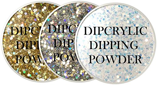 SHEBA NAILS Dipcrylic Dip Dipping Powder Unicorn Poop Trio Kit - 1oz Jar ea Liquid Gold, Starlight & Sugar Crystals