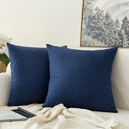 Miulee Pack of 2, Decoration Faux Linen Burlap Decor Square