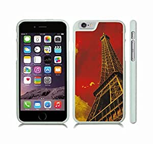 Case Cover For Apple Iphone 6 Plus 5.5 Inch with Eiffel Tower in Golden Tint on Red and Gold Background Snap-on Cover, Hard Carrying Case (White)