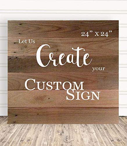 Custom Hand Painted Wooden Signs With Personalized Quote For Office 24 x 24  C3