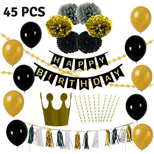 Birthday Party Decoration Pack-10 Gold & Black Balloons-6 Gold Black & Grey Paper Pompoms-1 Free Hat and 10 straws-15 Black White & Gold Tassels-2 Set gold Garlands-1 Happy Birthday Banner-anniversary by LOUNGEL