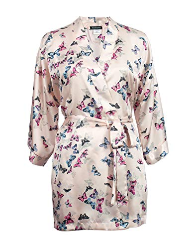 momomio Short Silk Satin Robe for Women Floral Animal Print Loungewear Sleepwear (XL, Ivory Butterfly)