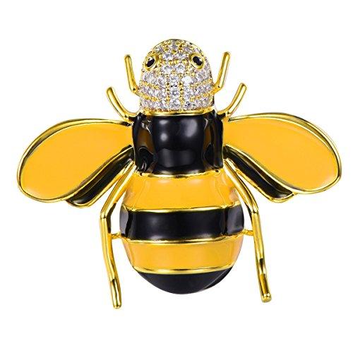 FOCALOOK Enamel Bee Animal Brooch 18K Gold Plated Rhinestone Bumble Wedding Crystal Pin for Women Girls