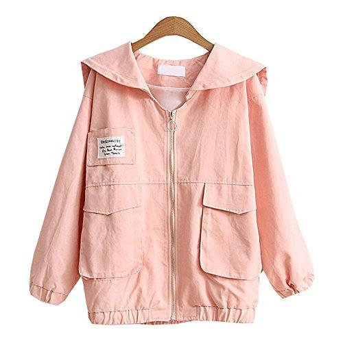 Jacke Studentisch Outwear Streetwear Damen Rose Langarm Übergangsjacke Herbst Einfarbige Mäntel Lose Dabag Mädchen wEXOYq6