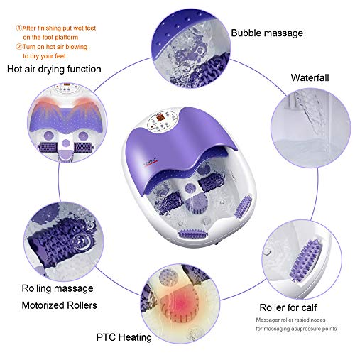 All in one foot spa bath massager w/motorized rolling massage, heat, wave, O2 bubbles, water fall, blowing hot air to dry feet, digital temperature control LED display FBD1023