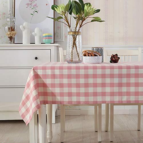 家の装飾布カバー ホームブルーのチェック柄のテーブルクロス生地牧歌韓国茶テーブルクロス綿小さな新鮮なテーブルマット長方形かわいい テーブルクロス (色 : Pink Lattice, サイズ : Gezi(130*130cm)) Gezi(130*130cm) Pink Lattice B07RWLG3J8