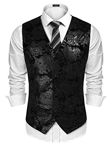 COOFANDY Mens Classic Suit Vest Paisley Floral Tuxedo Dress Waistcoat Vests,Black,Medium]()