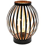 """JHY DESIGN 8.7"""" High Metal Cage Decorative Lamp Battery Powered Cordless Warm White Light with LED Edison Style Bulb…"""