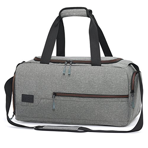 MarsBro Water Resistant Sports Gym Travel Weekender Duffel Bag with Shoe Compartment Grey from MarsBro