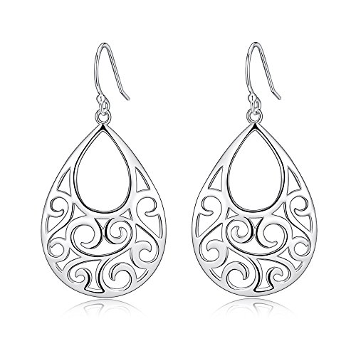 Highly Polished Sterling Silver Filigree Peafowl Dangle Drop Earrings, In Decent (Highly Polished)