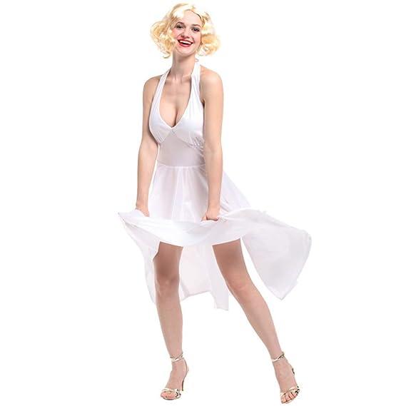 Vestido De Verano Blanco Sexy para Mujer Disfraz De Marilyn Monroe ...