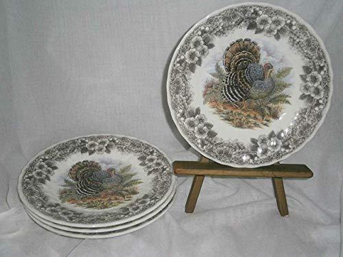 "Myott by Churchill 8"" Salad Plates x 4 THANKSGIVING Brown Flower Trim w/Multi Color Turkey"