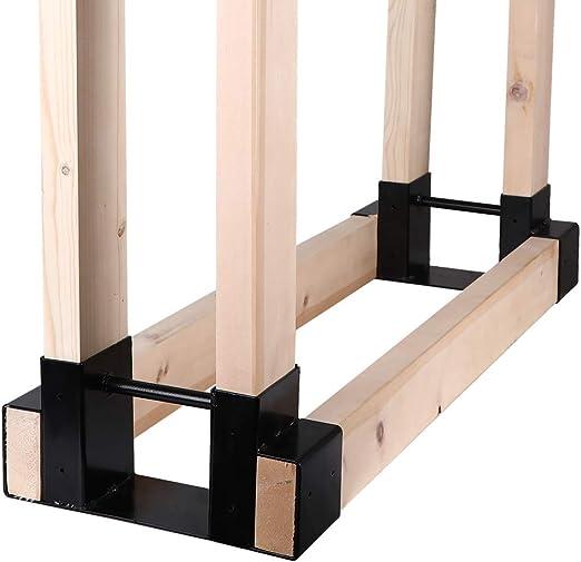 Firewood Rack Bracket Kit Adjustable Length Wood Log Holder Outdoor Storage New