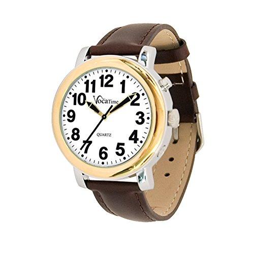 (VocaTime Mens BI-COLOR Talking Watch - Brown Leather)