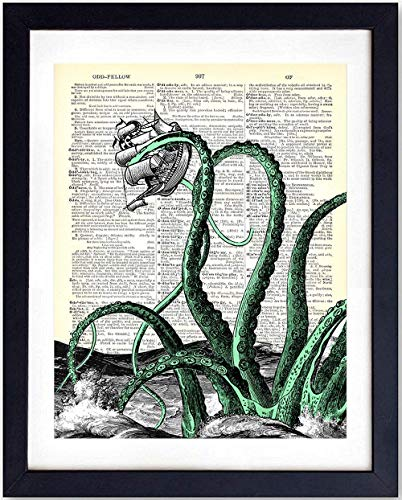 Octopus Upcycled Dictionary Wall Art Print - 8X10 Vintage Unframed Photo - Great For Bathrooms and Home Decor and Easy Gift Giving - Sea Monster