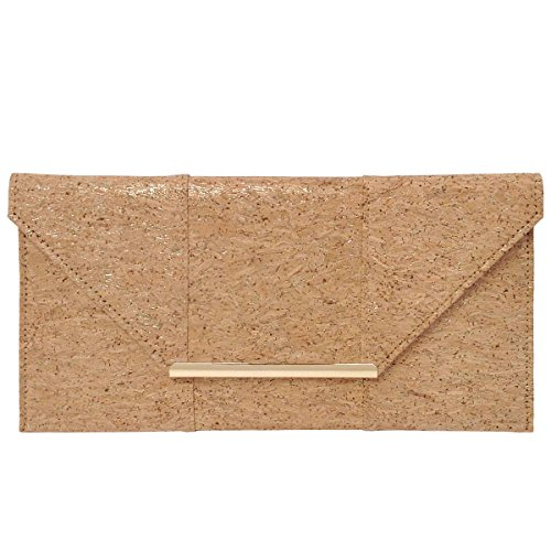 Natural Cork Flat Clutch, Gold by JNB