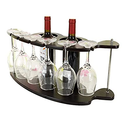 forest-gen soporte rack de vino, botella de vino y vidrio soporte de almacenamiento