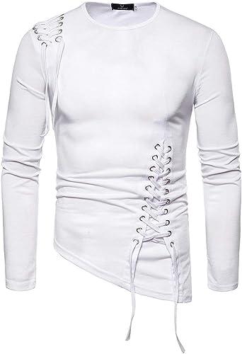Hombres Camisetas Camisas Manga Larga Cuello Redondo Irregular T-Shirt con Cordones Color Sólido Tshirts Único Tendencia: Amazon.es: Ropa y accesorios