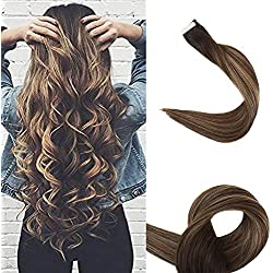 """Full Shine 18"""" Highlighted Tape in Human Hair Extensions Remy Human Hair Tape in Extensions Balayage Ombre Hair Extensions Color #2 Fading to #3 and #27 Ombre Extensions 50g 20 Pcs Per Package"""