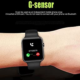 EvershopBluetooth Smart Watch with SIM Card Slot 2.5D ARC HD(Black)