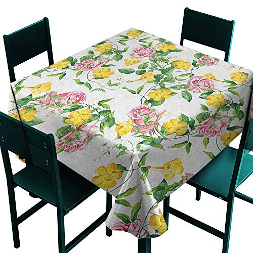 (Warm Family Yellow Flower Oil-Proof and Leak-Proof Tablecloth Flourishing Bindweed and Pink Roses Leaves Botanical Nature Indoor Outdoor Camping Picnic W50 x L50 Jade Green Yellow Baby Pink)