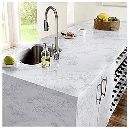 H2mtool White Marble Contact Paper Removable Self Adhesive