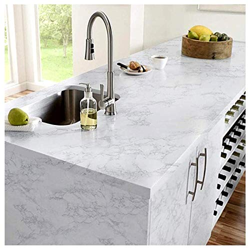 H2MTOOL White Marble Contact Paper, Removable Self Adhesive Countertop Film for Furniture (15.7 x 78.7, White Grey 01)