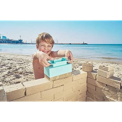 Sand Pal Beach Sand & Snow Castle Building Kit, 9-Piece Brick Maker and Toy Set, Construction Shape Molds for Girls and Boys Summer & Winter Fun for Toddlers to Teens and Adults, with Carrying Case: Toys & Games