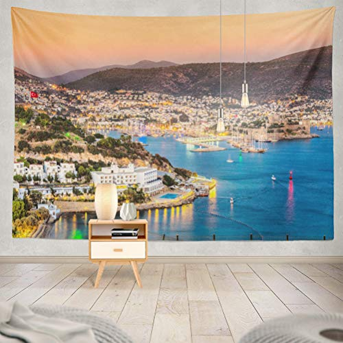KJONG Castle and Turkey Yacht Hotel Beach People Destination Boat Coast Decorative Tapestry,60X80 Inches Wall Hanging Tapestry for Bedroom Living Room ()