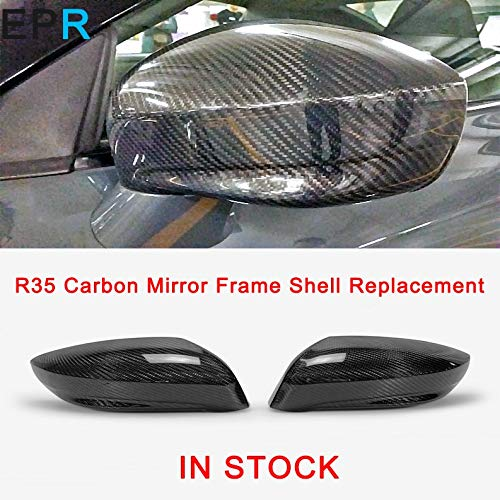 Pukido GTR R35 Carbon Fiber Mirror Frame Shell Replacement for Nissan Glossy Fiber Outside Mirror Shell Racing - R35 Fiber Carbon