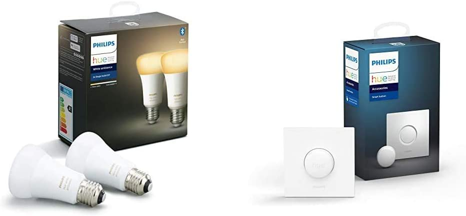 Philips Hue Pack de 2 Ampoules LED Connectées White Ambiance E27 Compatible...