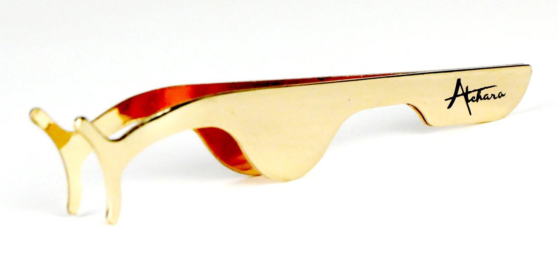 Atchara Pro Beauty False Eyelash Applicator Clip Tweezers Nipper Makeup Tool Gold Stainless Steel+Box