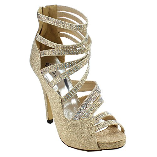 Eye Candie Wink-201 Femmes Paillettes Multi Strappy Retour Zipper Stiletto Talon Sandale Or