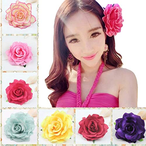 7 Pack Rose Flower Hairpin Hair Clip Flower Pin Up Flower Brooch (Claw Brooch)