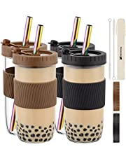 Reusable Boba Cup Bubble Tea Cup 4 Pack, 24Oz Wide Mouth Smoothie Cups with Lid, Silicone Sleeve & Angled Wide Rainbow Straws, Leakproof Glass Mason Jars Drinking Bottle Travel Tumbler for Large Pearl
